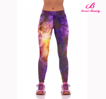2016 New Fashion fits all ladies fancy sports leggings fitness with galaxy printing