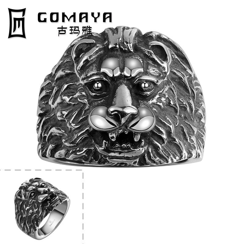 Stainless Steel Ring With Lion Head GMYR099 Animal Head Rings Jewelry