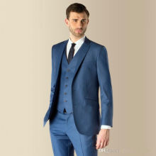 Hot selling turtle neck pocket slim fit men polyester wool blue pant coat design men wedding suits pictures