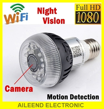 1080p wireless light wifi bulb hidden spy camera with Night vision app Remote control