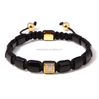 2016 New Design Wholesale Mens Natural Stone Beaded Bracelets Sqaure Bracelet Macrame Bracelet With Custom Charm