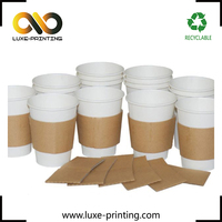 Custom your own brand plain kraft paper hot coffe cup sleeve