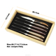 Wood Handle Stainless Steel 6pcs Laguiole Steak Knives With Wood Box