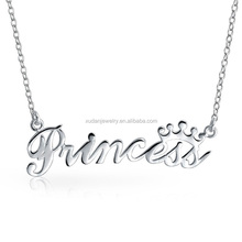 Fashion Stainless Steel Princess Letter Pendant Necklace Jewelry/ PRETTY PRINCESS