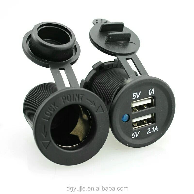 Hot selling 12V Waterproof Mobile Motor Auto double sockets Cigarette light socket Dual USB Charger Power Socket