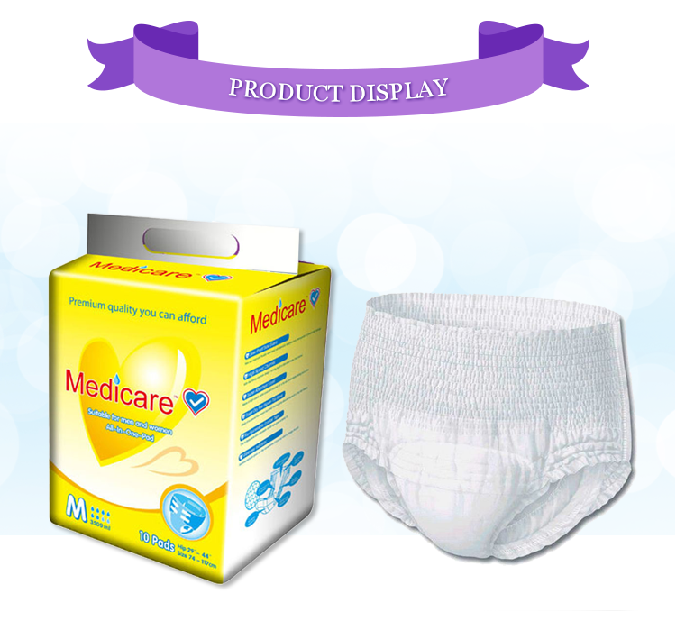 Custom Good Super Absorbent M/L/XL/XXL Size Mens Disposable Adult Diapers with Wet Indicator