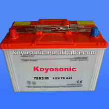 Hot!!!!12V Lead Acid JIS Standard Dry charged car battery (automotive battery)-N75-12V75AH