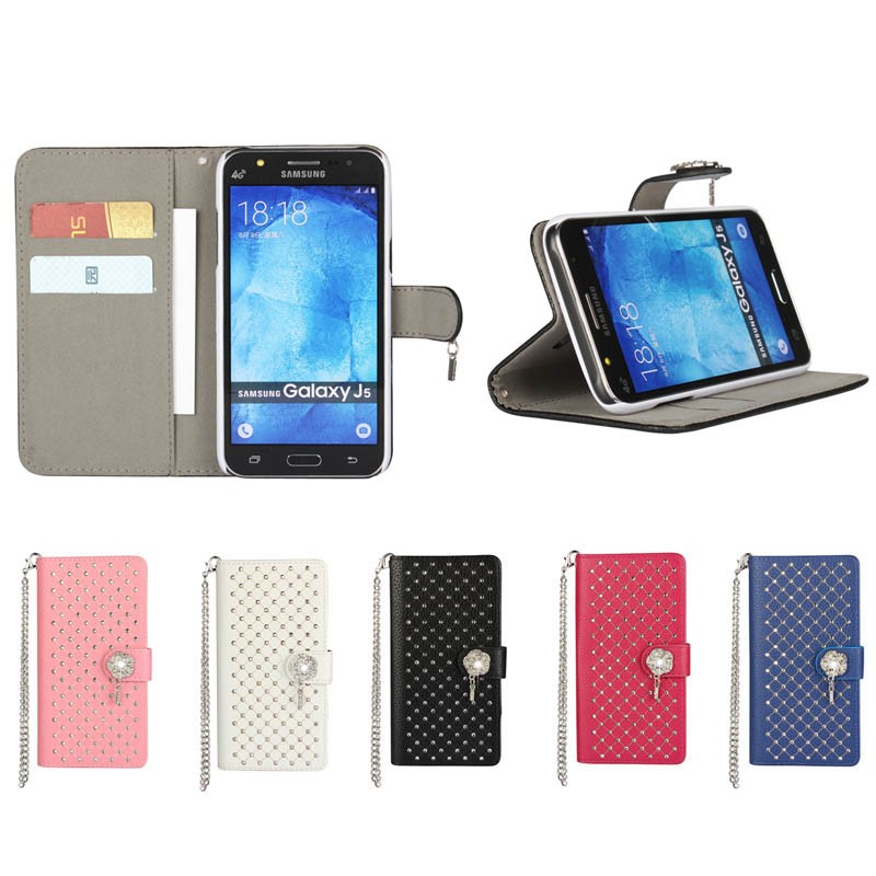 Fashion Luxury Diamond Leather Flip Case for Samsung Galaxy J5 with Card Slot inside, 5 Colors Aavailable