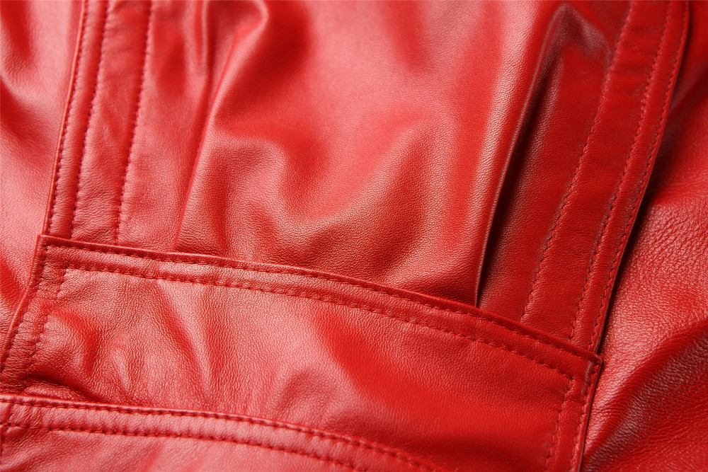 Mini Short Women Red Moto Biker Leather Jacket