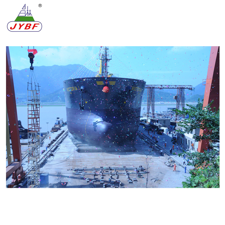 Saving working time for ship launching rubber airbag