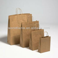 Reusable Kraft Paper Take Away Grocery tote Bags With External Flat Paper Tape Handles