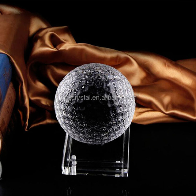 Yx-SJQ04 Clear Crystal Glass Golf Ball Asian Sphere Home Decor Ornaments Fengshui Crafts Sports Souvenir Gifts