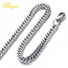 BUYEE Width 5.8/6.6/7.5/9.2 mm Vintage Style Long Chain Necklace Silver Color Titanium Steel Curb Cuban Link Hip Hop Jewelry