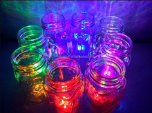 Hot design glass drinking jar with handle 450ml glass mason jar with led light