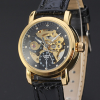 SY-WIN115 2016 New Design High-end Men Wrist Watches Genuine Leather Watch Band Golden Skeleton Automatic Watches