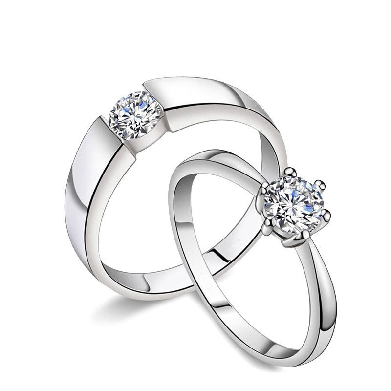Tryme Jewelry Online wholesale 925 silver couple ring with <strong>diamond</strong>