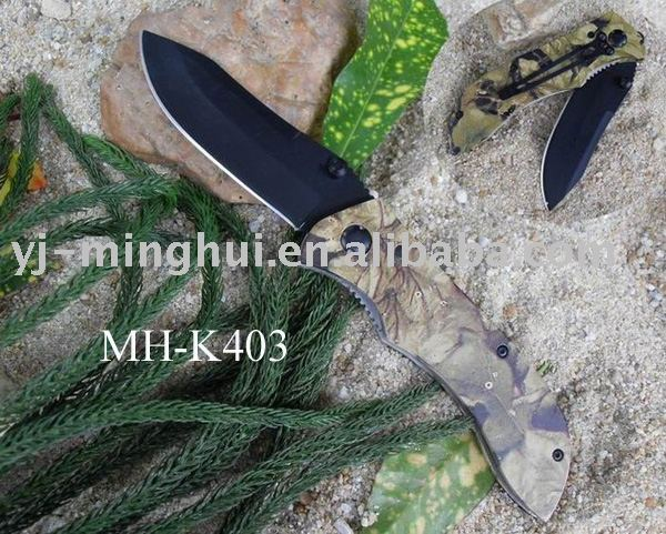 Tactical survival outdoor camo coating folding pocket knife