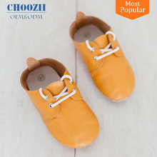 Factory Wholesale US Best Seller Unisex Style Genuine Leather Baby Oxfords with Boxes