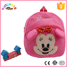 lovely pink plush minnie mouse backpack plush school bag for kids