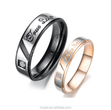 European and American trade exquisite inlaid diamond engraved stainless steel true love Couple Ring New Fashion Ring