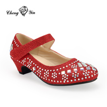Wholesale Girl Belly Rubber Red Hip Hop Diamond Dance Shoes for Children