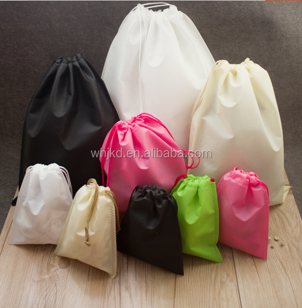 Promotion art non woven cord dust bag for handbag with draw string handle