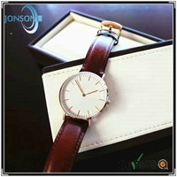 Custom logo watches blank white face classic brand your own slim watch with thin leather band