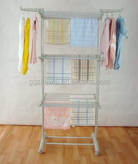 Multifunctional Metal with PVC Three Layers Laundry Drying Rack with Wheels BS-8031G