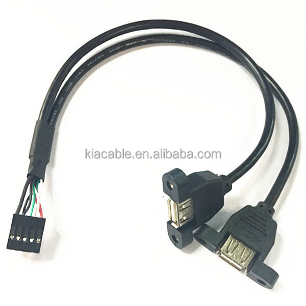 Dual USB A Female Panel Mount to 10Pin Header Cable
