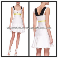 OEM Paneled Colorblock Trumpet fashion silk Dresses china factory supplier (TW0341D)