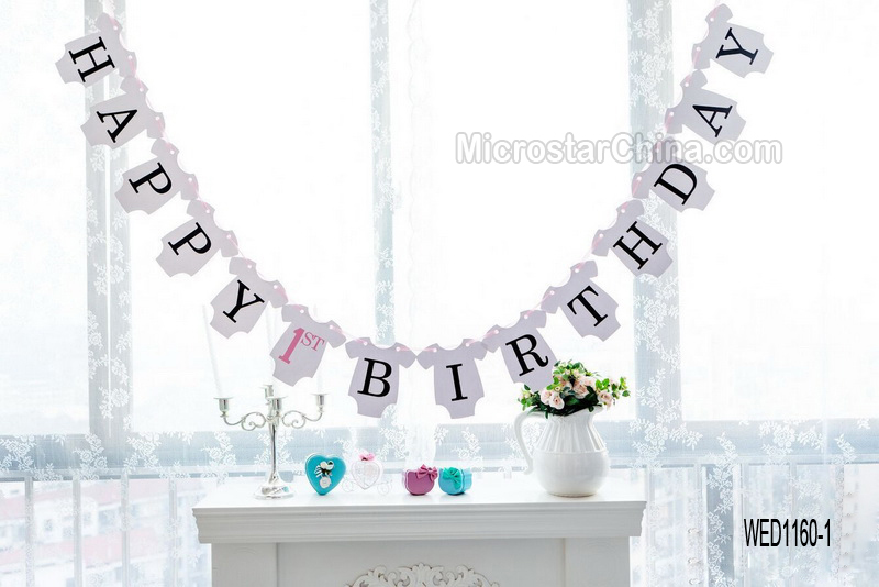 Baby Girl's Pink Happy 1st Birthday Bunting Banner Decoration