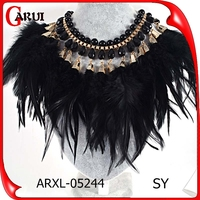 hot alloy women black feather crystal vintage bib statement necklace