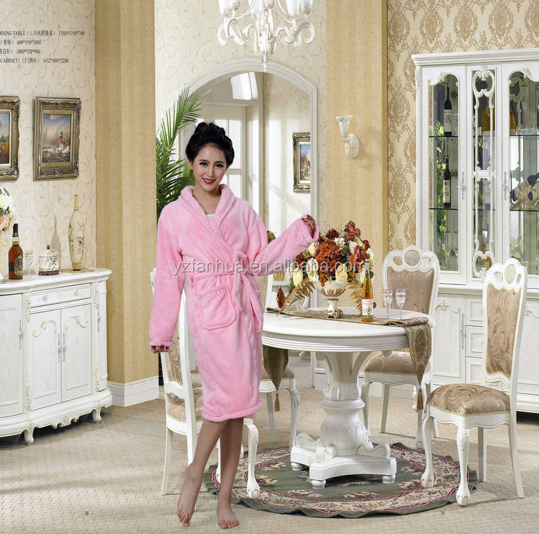 adult 100% polyester women towel robe/bathrobe/gown/ bath robe