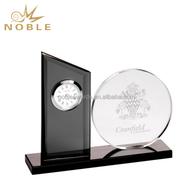 Custom Clear & Black Crystal Clock Award with Round Glass Plaque