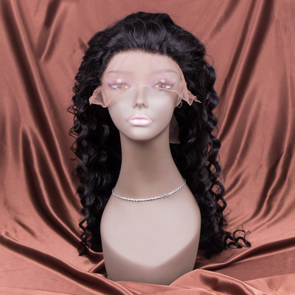 Wholesale 16~30 Inch 180% Density Deep Wave 1B Color Glueless Full Lace Wig For Black Women