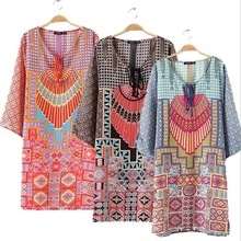 F20359A New fashion african dashiki dress ribbon v neck short skirt african print fabric dress for women