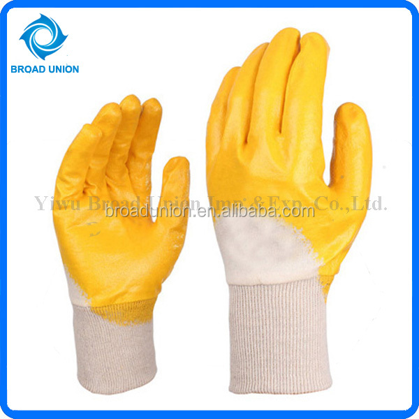 High Quality Yellow Nitrile Coated Gloves Cotton Work Gloves