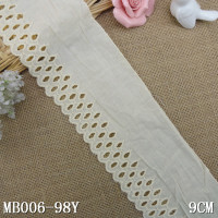 hollowed cotton linen lace eyelet lace trim cream white cotton lace trim