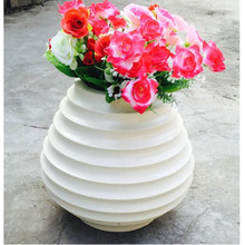 Factory sale high quality waterproof stripe cement flower pots for indoor