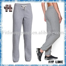 loose fit elastic Ankle strap long pants, elastic waistband with drawstring heather fabric running trousers for womens