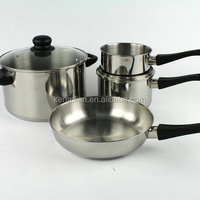 promotion 6 pcs induction stainless steel cookware set/casserole/saucepan/frypan/cooking pot/pan frying with bakelite handle