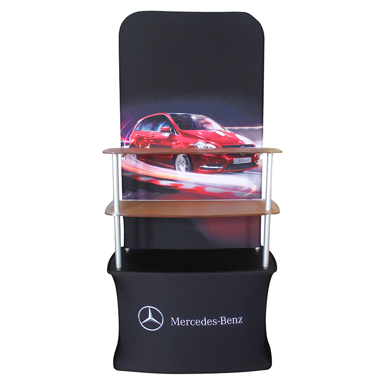 acrylic board shelf tension fabric brochure display rack with backwall