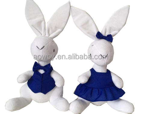 plush bunny plush boy bunny and girl bunny stuffed bunny with blue vest and shirt