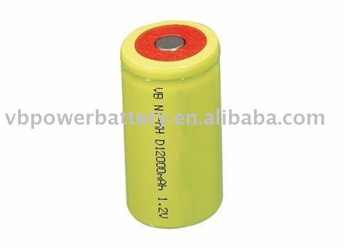 D Size 12000 mAh Flat Top rechargeable NiMH battery