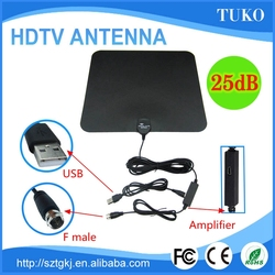 super thin 25db flat clear cable hdtv antenna direct rca