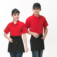 Cute cotton cheap ,cooking apron,chef apron design with three pockets cute waist apron