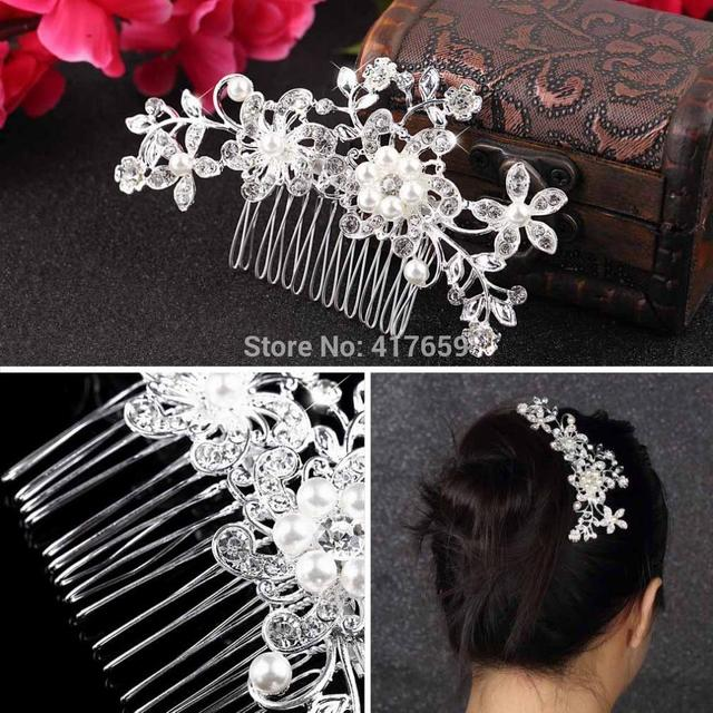 Floral Wedding Tiara Sparkling Silver Plated  Crystal simulated pearl Bridal Hair Combs Hairpin Jewelry Hair Accessories
