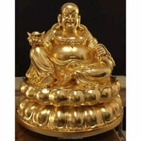gold plated bronze laughing buddha Maitreya statues for sale