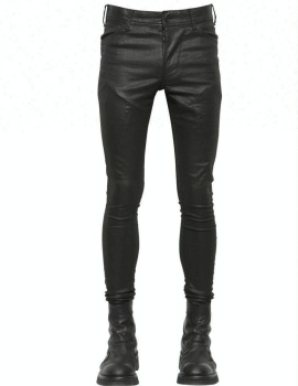 Royal wolf denim jeans fabrication patchwork styler enduit noir super skinny fit ciré denim jeans
