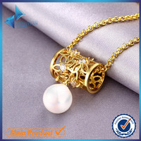 JYSZN0132 gold long chain bridal design pearl necklace